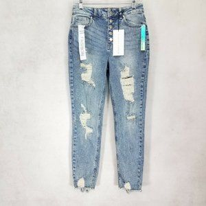 NEW Tinseltown 9 Distressed High Rise Mom Jeans